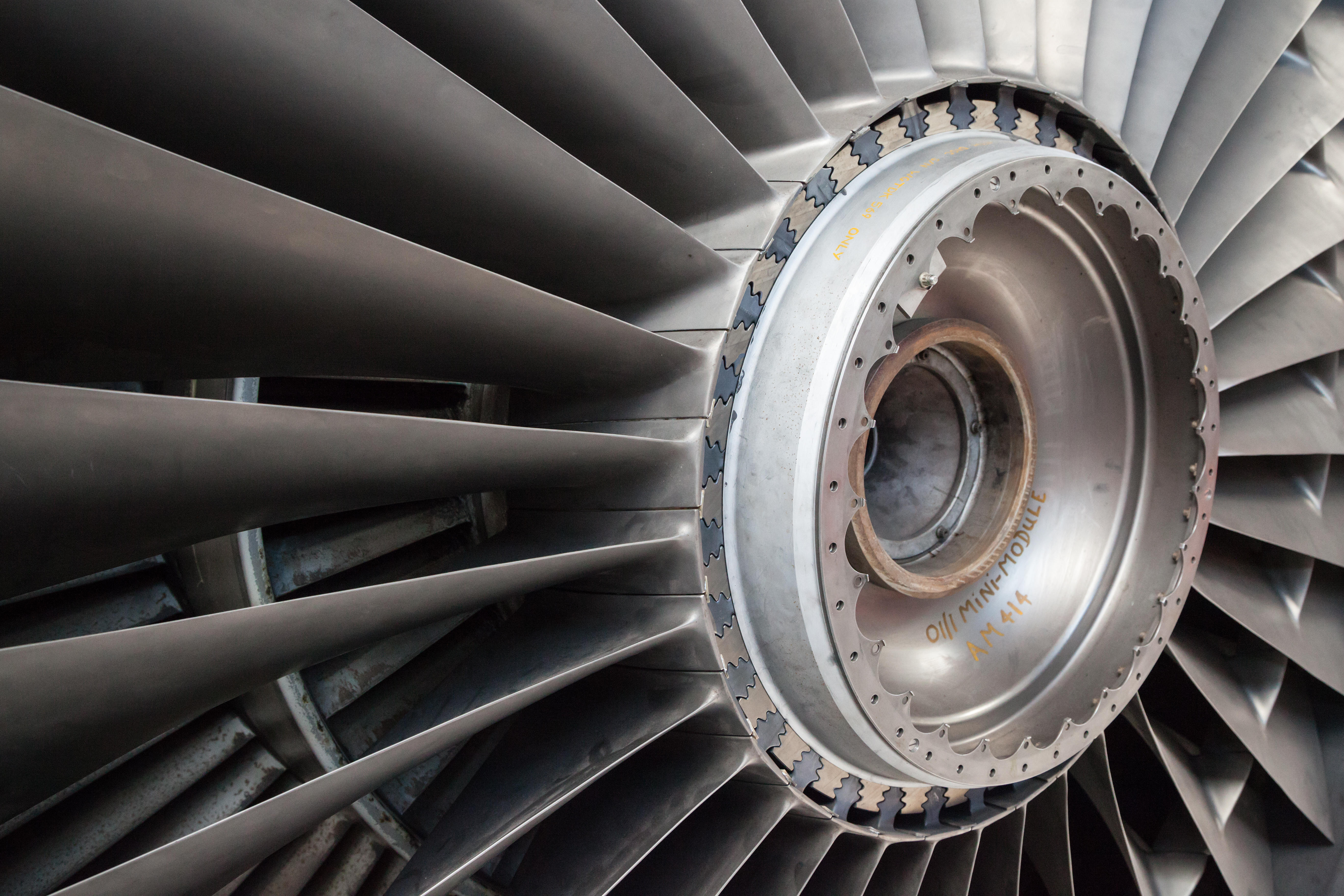 A view of the front fan from a Rolls-Royce RB211 turbofan engine.